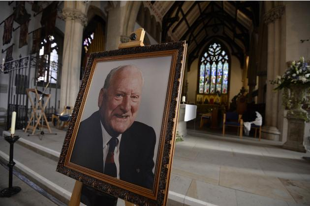A portrait of former Preston and England soccer player Finney is displayed in a church ahead of his funeral at Preston Minster