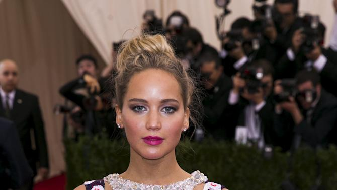 """Actress Jennifer Lawrence arrives at the Metropolitan Museum of Art Costume Institute Gala 2015 celebrating the opening of """"China: Through the Looking Glass,"""" in Manhattan, New York"""