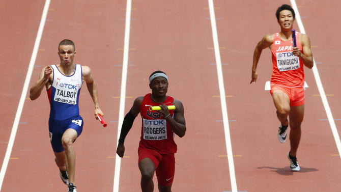 Rodgers leads to win their men's 4 x 100 metres relay heat at the 15th IAAF Championships in Beijing