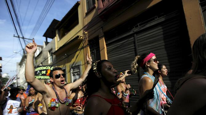 "Revellers take part in an annual block party known as ""Cordao de Prata Preta"", one of the many carnival parties to take place in the neighbourhoods of Rio de Janeiro"