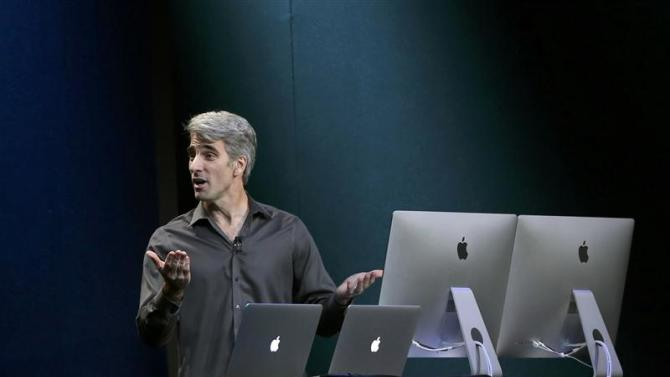 Craig Federighi, Apple Inc. Senior Vice President of Software Engineering, speaks on stage during an Apple event in San Francisco