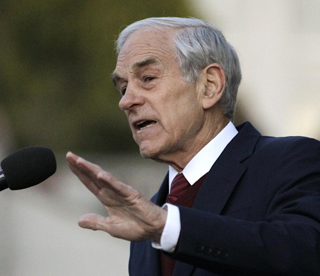 FILE - In this April 5, 2012 file photo, Republican presidential candidate Rep. Ron Paul, R-Texas speaks Berkeley, Calif.  One by one _ with the exception of holdout Paul _ the GOP also-rans have coug