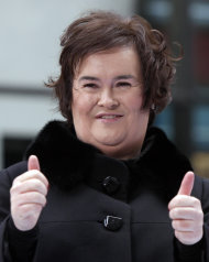 FILE - Susan Boyle appears on the NBC &quot;Today&quot; television program in New York in this Nov. 23, 2009 file photo. She has sold millions of records, received an honorary doctorate, sung for Pope Benedict XVI and performed in Las Vegas. A stage musical about her life has played to enthusiastic crowds across Britain and is headed for Australia, and in November 2012 she releases her fourth album, &quot;Standing Ovation.&quot; (AP Photo/Richard Drew, File)