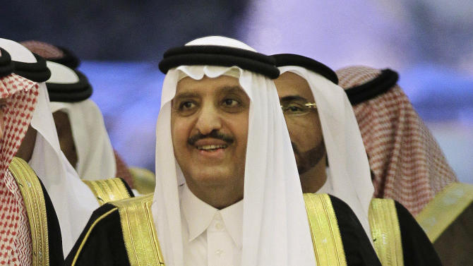 """In this Wednesday, May 2, 2012 photo, Prince Ahmed bin Abdul-Aziz arrives before the Interior ministers of the Gulf Cooperation Council """"GCC"""" meeting in Riyadh, Saudi Arabia. Prince Ahmed was promoted from deputy interior minister to take Nayef's place leading the ministry, which has played the front-line role in crackdowns on Islamic militants following the Sept. 11 attacks. The move appears to put Ahmed, believed to be in his early 70s, in a position to be in line for the throne. (AP Photo/Hassan Ammar)"""