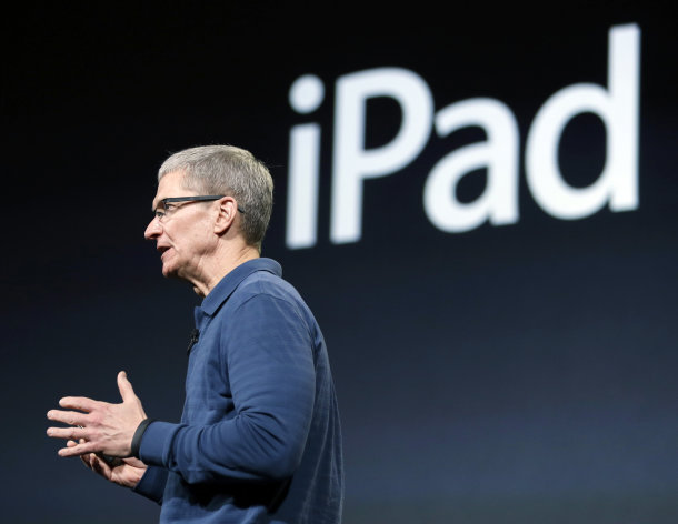Apple CEO Tim Cook speaks during an event to announce new products, including the iPad mini, in San Jose, Calif., Tuesday, Oct. 23, 2012. Apple Inc. is refusing to compete on price with its rivals in the tablet market, it&#39;s pricing its new, smaller iPad well above the competition. On Tuesday, the company revealed the iPad Mini, with a screen that&#39;s about two-thirds the size of the full-size model, and said it will cost $329 and up. (AP Photo/Marcio Jose Sanchez)