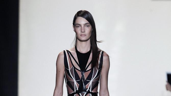 In this photo provided by Herve Leger, the Herve Leger Spring 2013 collection is modeled during Fashion Week in New York, Saturday, Sept. 8, 2012. (AP Photo/Herve Leger)
