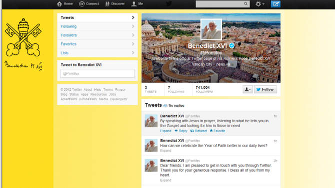 """A screen grab of Pope Benedict XVI Twitter page. Pope Benedict XVI hit the 1 million Twitter follower mark on Wednesday, Dec. 12, 2012 he sent his first tweet from his new account, blessing his online fans and urging them to listen to Christ. In perhaps the most drawn out Twitter launch ever, the 85-year-old Benedict pushed the button on a tablet brought to him at the end of his general audience after the equivalent of a papal drum roll by an announcer who intoned: """"And now the pope will tweet!"""". """"Dear friends, I am pleased to get in touch with you through Twitter. Thank you for your generous response. I bless all of you from my heart,"""" the inaugural tweet read. (AP Photo/Gregorio Borgia)"""