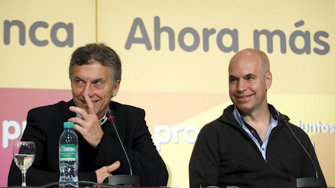 Horacio Rodriguez Larreta of the PRO party, chief of staff to outgoing mayor and presidential candidate Mauricio Macri, attends a news conference in Buenos Aires