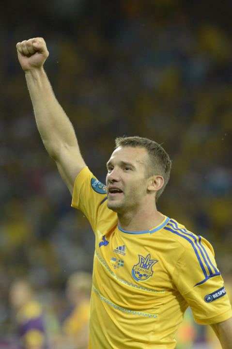 Ukrainian Forward Andriy Shevchenko Celebrates AFP/Getty Images