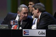 <p>Cuban President Raul Castro (L) listens to his Foreign Minister Bruno Rodriguez during the opening of the Latin American and Caribbean States summit in Santiago, on January 27, 2013.</p>
