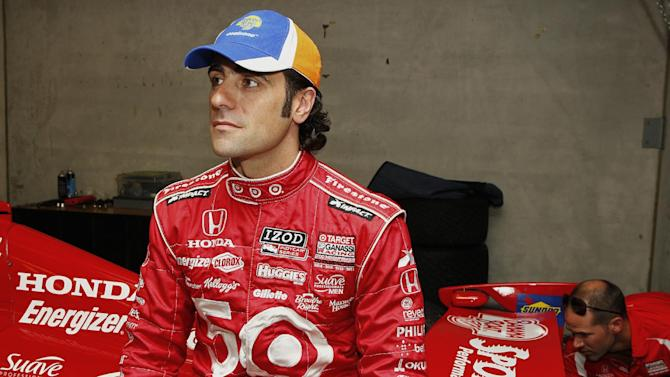 COMMERCIAL IMAGE - In this photograph taken by AP Images for Banana Boat, four-time IndyCar Champion driver Dario Franchitti helps introduce the new Banana Boat® Sport Performance® CoolZone™ sunscreen as part of a larger partnership between Banana Boat® and Target Chip Ganassi Racing on Thursday, May 24, 2012 in Indianapolis. (Phillip Abbott/AP Images for Banana Boat)