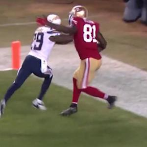 San Francisco 49ers wide receiver Anquan Boldin and San Diego Chargers cornerback Shareece Wright push and shove after negated TD