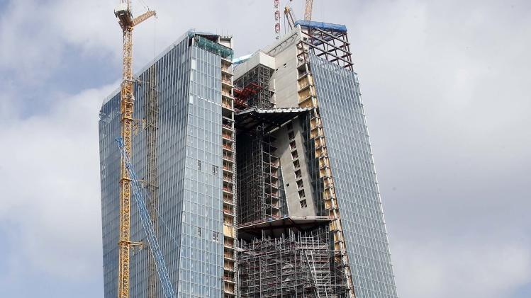 The new headquarters of the European Central Bank is under construction in Frankfurt, Germany, on Thursday, May 2, 2013. The governing council of the ECB meets in Slovakia on Thursday. (AP Photo/Michael Probst)