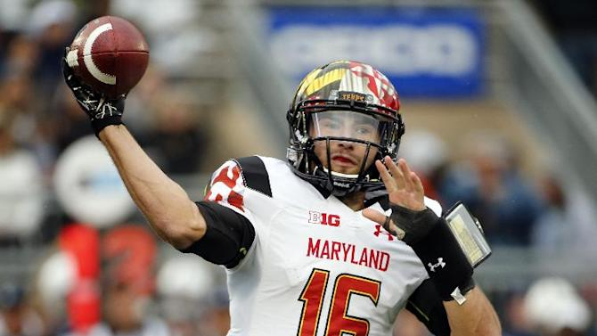 In this Nov. 1, 2014, file photo, Maryland quarterback C.J. Brown (16) throws a pass during the first half of an NCAA college football game against Penn State in State College, Pa. Brown prepares for his final home game looking to add one more memory to a six-year college career filled with big runs, touchdown passes and, unfortunately, frustrating injuries