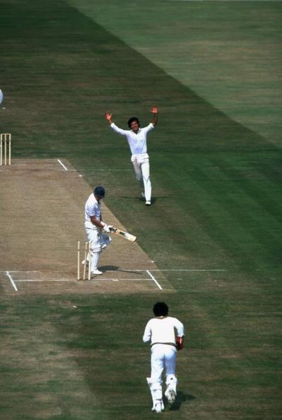 Jun 1985:  Imran Khan of Pakistan bowls Derek Randall of England during the First Test match at Edgbaston in Birmingham, England. England won the match by 113 runs. \ Mandatory Credit: Adrian  Mur