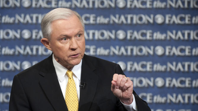 "In this Sunday, June 23, 2013, photo provided by CBS News Senate Judiciary Committee member, Sen. Jeff Sessions, R-Ala., an outspoken critic of the currently proposed immigration reform bill, speaks on CBS's ""Face that Nation"" in Washington. The Senate reconvenes tomorrow to consider the Comprehensive Immigration Reform bill. (AP Photo/CBS News, Chris Usher)"