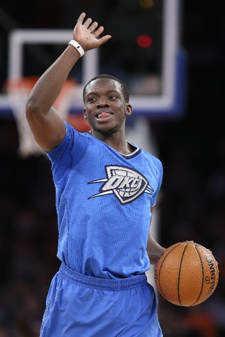 Oklahoma City Thunder point guard Reggie Jackson reacts during the second half of the Thunder's NBA basketball game against the New York Knicks at Madison Square Garden, Wednesday, Dec. 25, 2013,