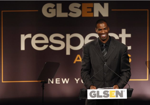 NBA basketball player Jason Collins speaks after being presented with the Courage Award, at the annual GLSEN (Gay, Lesbian &amp; Straight Education Network) Respect Awards gala in New York