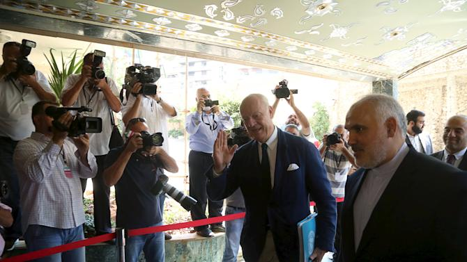 United Nations Special Envoy for Syria Staffan de Mistura gestures upon his arrival at the Iranian embassy in Beirut, Lebanon