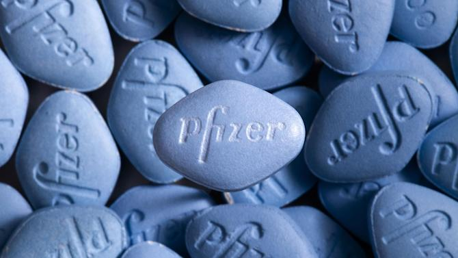 This undated photo provided by pfizer shows Viagra pills. In a first for the drug industry, Pfizer Inc. told The Associated Press on May 6, 2013, that it will sell erectile dysfunction pill Viagra directly to patients on its website. (AP Photo/pfizer, William Vazquez)