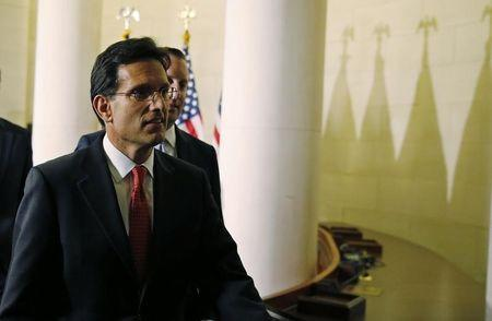 Outgoing House Majority Leader Eric Cantor arrives for House Republican leadership elections in the Longworth House Office Building on Capitol Hill in Washington