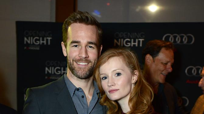 """James Van Der Beek and Kimberly Van Der Beek attend the opening night of """"The Gift"""" at the Geffen Playhouse on Wednesday, Feb. 6, 2013 in Westwood, Calif. (Photo by Jordan Strauss/Invision/AP Images)"""
