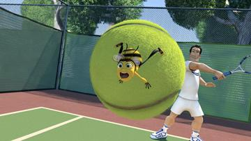 Barry B. Benson (voiced by Jerry Seinfeld ) and Ken (voiced by Patrick Warburton ) in DreamWorks Pictures' Bee Movie