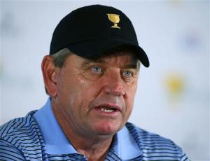 International captain Nick Price, of Zimbabwe, speaks at a press conference during the first practice round for the 2013 Presidents Cup golf tournament at Muirfield Village Golf Club in Dublin, Ohio