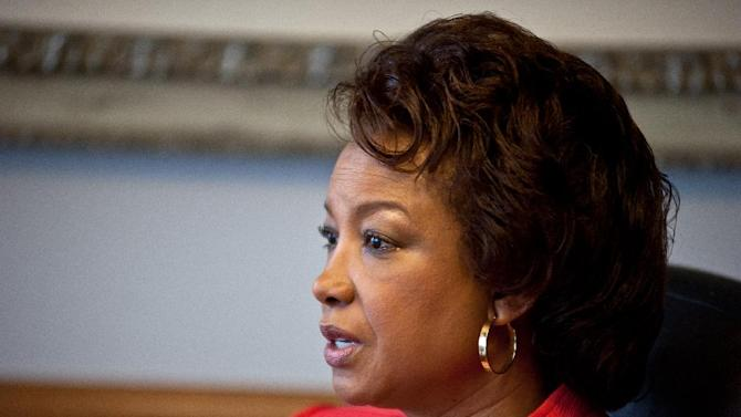 Former Florida Lt. Gov. Jennifer Carroll is pictured during her first interview following her resignation at a downtown Jacksonville, Fla. office Thursday, April 4, 2013. Carroll was questioned by the Florida Department of Law Enforcement regarding the Allied Veterans of the World internet gambling operation but was not charged of any crime. (AP Photo/Rick Wilson)