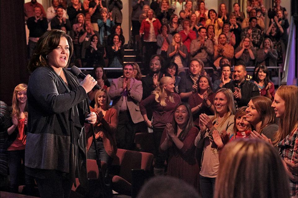 "Rosie O'Donnell in front of ""The Rosie Show"" audience."