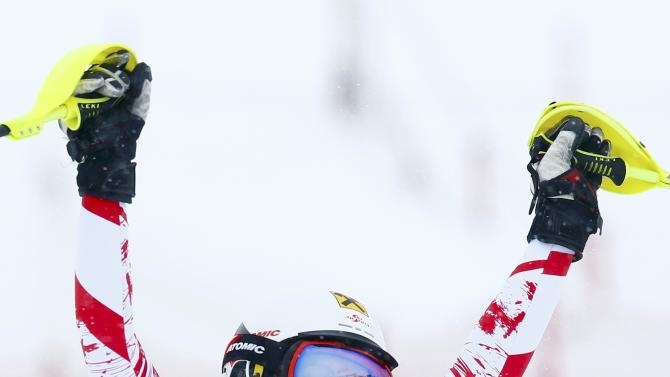 Dygruber from Austria reacts after her second run of the World Cup Women's Slalom race in Kuehtai ski resort