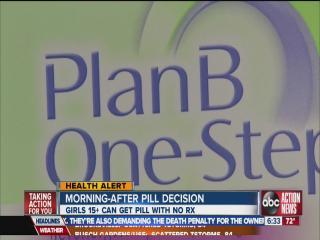 FDA: Morning-after pill ok for 15+