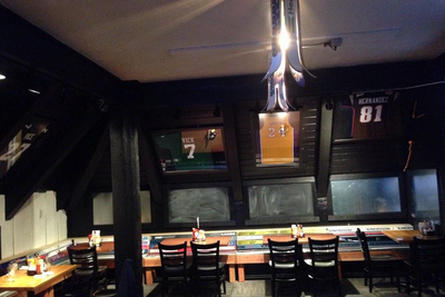 Why does this Colorado sports bar display Aaron Hernandez and Ray Rice jerseys?