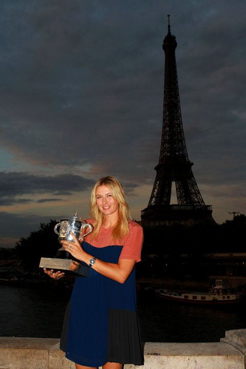French Open Women's Champion Maria Sharapova Of Russia Poses With The Coupe Suzanne Lenglen Backdropped By The Eiffel  Getty Images