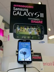 <p>A Samsung Galaxy S3 phone is displayed in a store. Samsung mobile phones remained the most popular in the US with 25.6% of the market, but third-place Apple gained ground to claim 16.3% as of the end of July, according to comScore.</p>