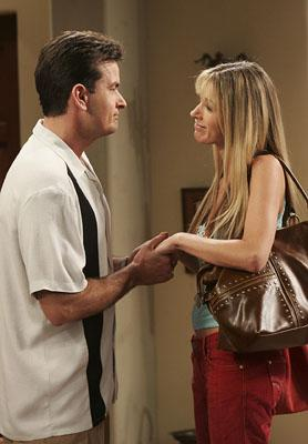 "Charlie Sheen as Charlie, avoiding saying ""I love you"" to his girlfriend CBS' ""Two and a Half Men"""