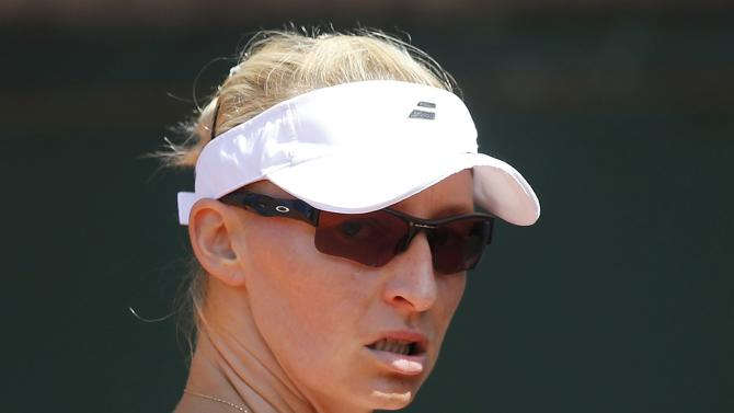 Mirjana Lucic-Baroni of Croatia reacts during the women's singles match against Lauren Davis of the U.S. at the French Open tennis tournament at the Roland Garros stadium in Paris