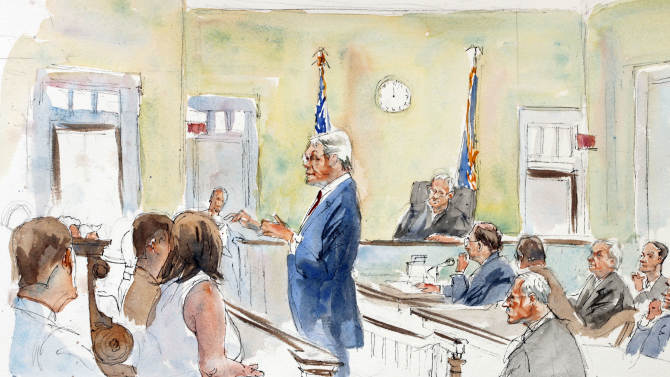 In this courtroom sketch, Joseph McGettigan III, standing center, before judge John Cleland, seated rear center, addresses the jury, left, during his opening statements during the first day of the child sexual abuse trial of former Penn State University assistant football coach Jerry Sandusky, second from right, with his attorney Joe Amendola, far right, at the Centre County Courthouse in Bellefonte, Pa., Monday, June 11, 2012. Sandusky is charged with 52 counts of child sexual abuse involving 10 boys over a period of 15 years. (AP Photo/Annie Kenny)
