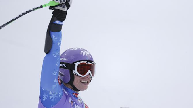Slovenia'sTina Maze reacts after finishing the women's super-G at the Alpine skiing world championships in Schladming, Austria, Tuesday, Feb.5,2013. (AP Photo/Matthias Schrader)