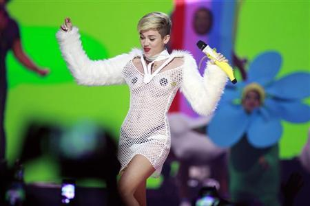 Miley Cyrus performs during the iHeartRadio Music Festival in Las Vegas