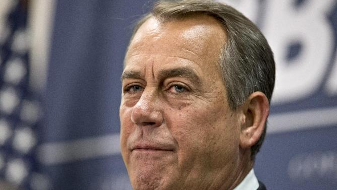 House Speaker John Boehner of Ohio meets with reporters on Capitol Hill in Washington, Wednesday, April 10, 2013, following a Republican strategy session, and the release of President Barack Obama's proposed fiscal 2014 federal budget.  (AP Photo/J. Scott Applewhite)