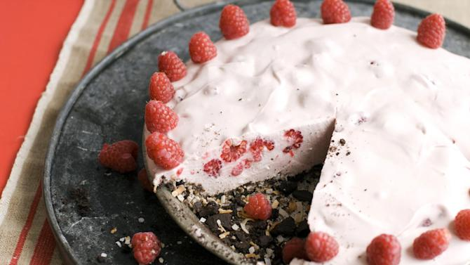 In this image taken on May 27, 2013, a raspberry coconut ice box pie is shown served on a tray in Concord, N.H. (AP Photo/Matthew Mead)