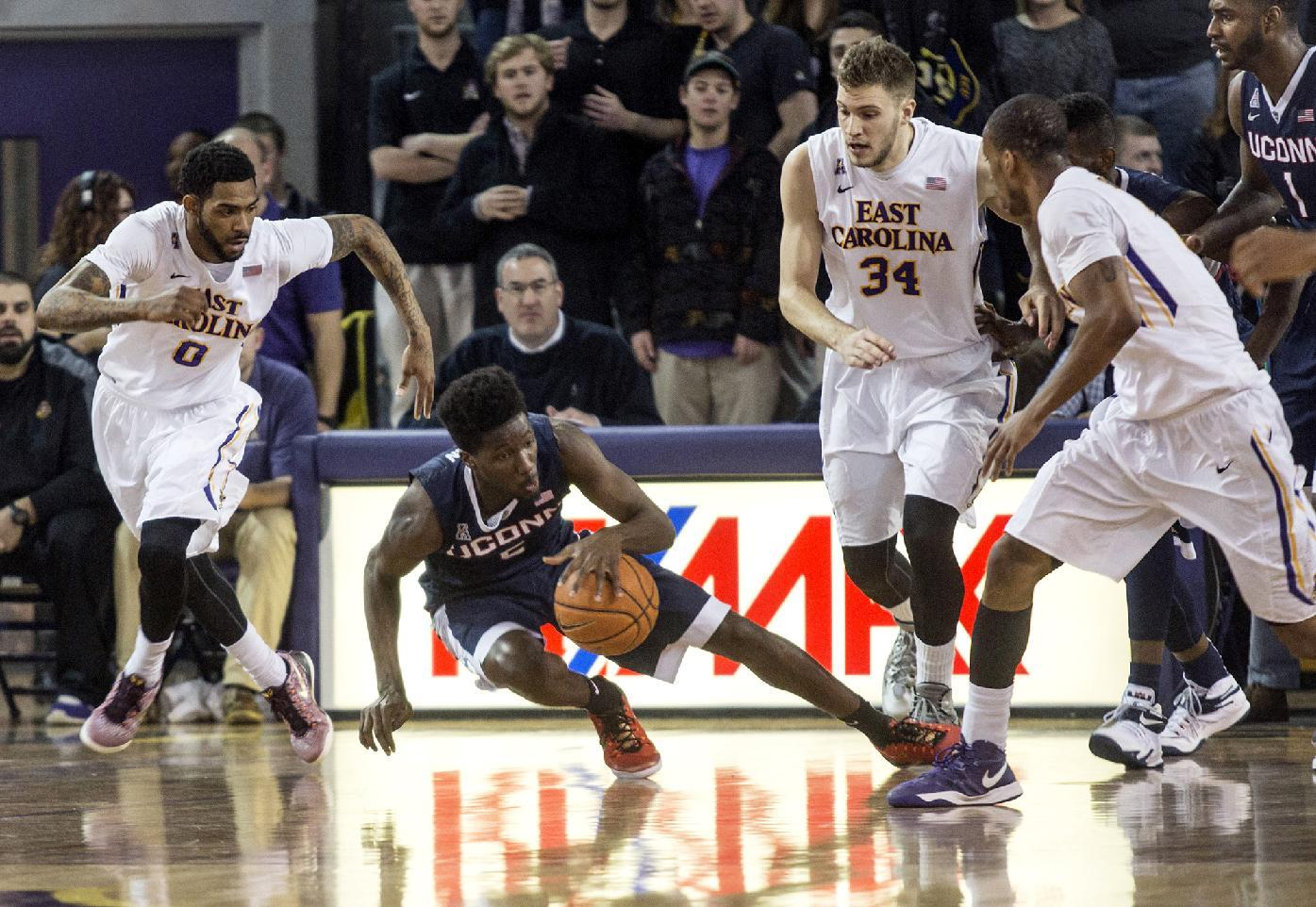UConn gets rare league road win, 60-49 over East Carolina