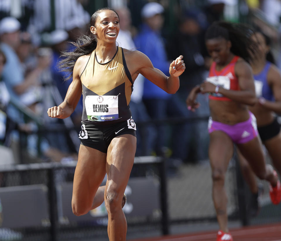 Lashinda Demus finishes first in the women's 400 meter hurdles at the U.S. Olympic Track and Field Trials Sunday, July 1, 2012, in Eugene, Ore. (AP Photo/Marcio Jose Sanchez)