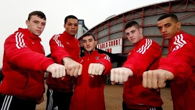 Fred Evans, Andrew Selby, Joe Joyce, Joe Ward and Sam Maxwell of the British Lionhearts boxing team outside Earls Court