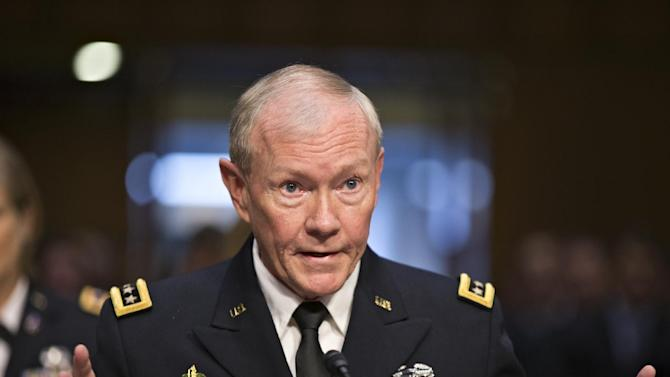 Gen. Martin Dempsey, chairman of the Joint Chiefs of Staff, appears before the Senate Armed Services Committee for a reappointment hearing, on Capitol Hill in Washington, Thursday, July 18, 2013. Dempsey said during congressional testimony Thursday that he has provided President Obama with options for the use of force in Syria. (AP Photo/J. Scott Applewhite)