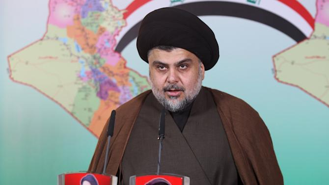 Prominent Iraqi Shi'ite cleric Moqtada al-Sadr delivers a statement in Najaf