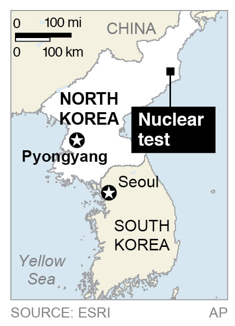 Map locates an underground nuclear test near the Punggye-ri test facility;
