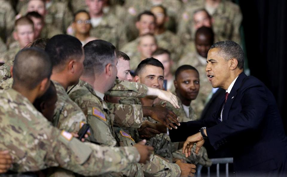 President Barack Obama greets members of the military and their families at Fort Bliss, Friday, Aug. 31, 2012, in El Paso, Texas. (AP Photo/Pablo Martinez Monsivais)
