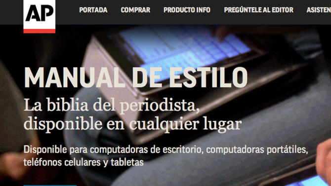 This screen grab shows the main page of the new online Spanish language AP stylebook which was launched on Nov. 19, 2012. The Associated Press has launched its first-ever Spanish stylebook, a reference guide designed to provide a valuable tool for journalists, writers, editors and scholars of the language spoken by some 450 million people globally. (AP Photo)